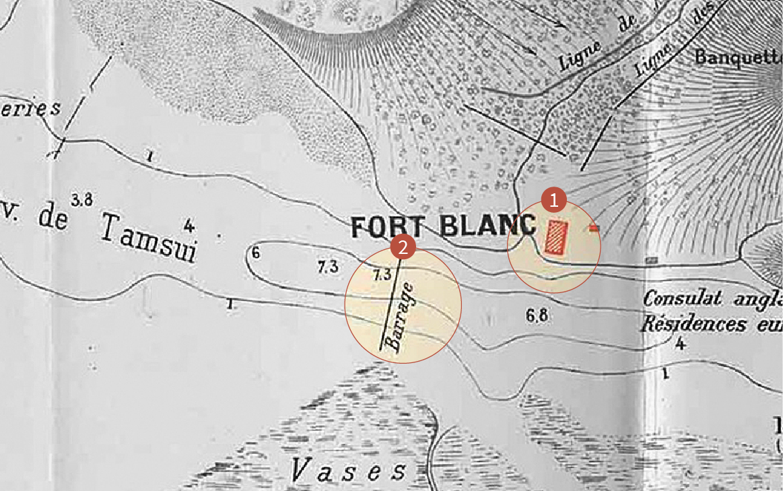 紅色方塊,Fort Blanc(白砲台);Blockade(阻絕線)