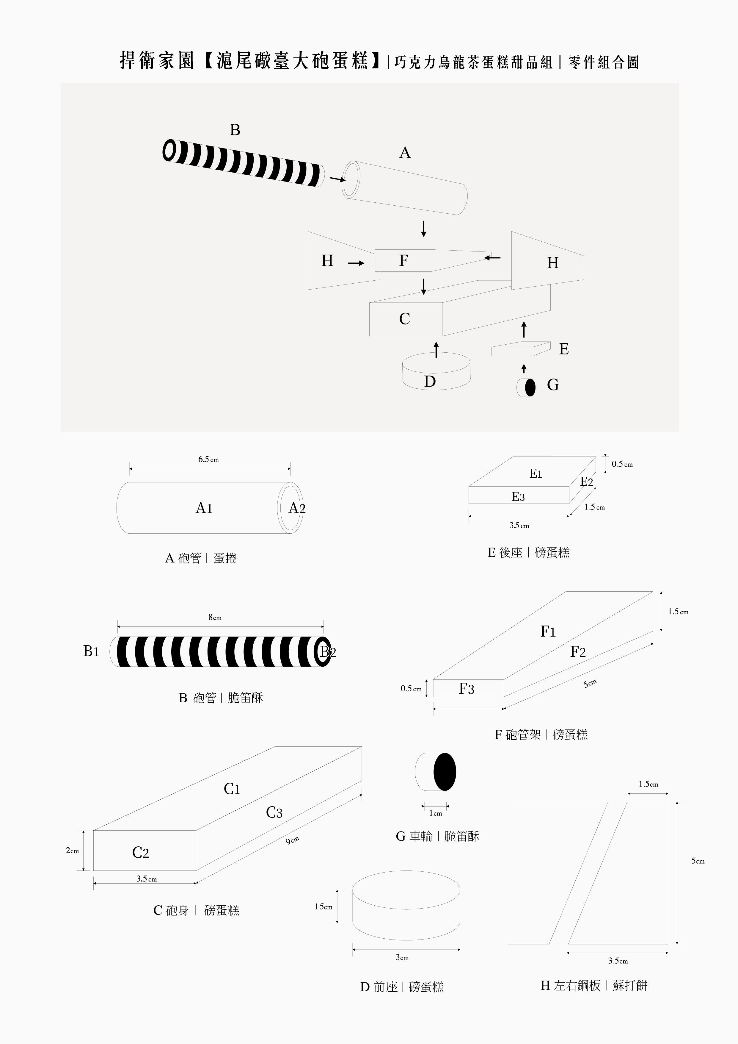 大砲蛋糕立體零件圖
