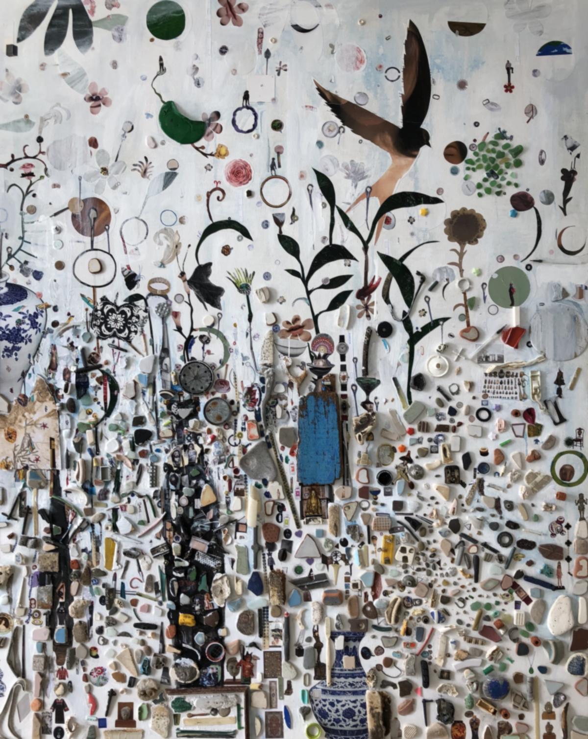 劉時棟作品《海面上升》,複合媒材創作。